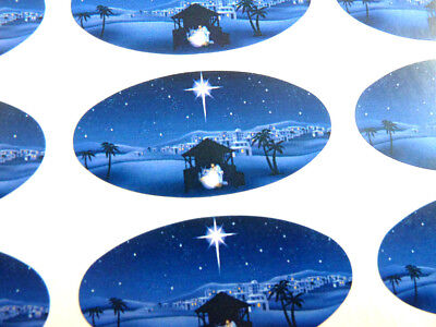 Nativity Scene, Christmas Christian Labels Stickers, Envelope Seals For Cards • 2.40£