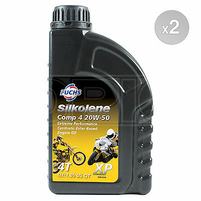 Silkolene Comp 4 20W-50 XP 4-Stroke Bike 20W50 Engine Oil 4T 2 X 1 Litre 2L • 25.49£