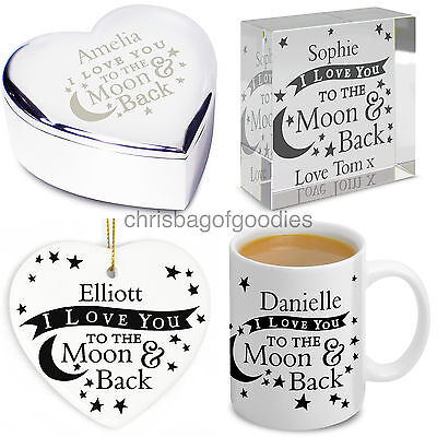 PERSONALISED I LOVE YOU TO THE MOON AND BACK Gifts For Her Him Birthday Novelty • 13.95£