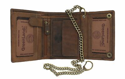 Greenland-Nature STONE Gents Leather Biker Wallet Security Chain RFID 2151 • 44.99£