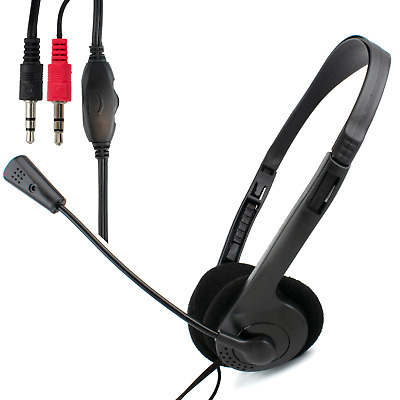 DYNAMODE N90 STEREO HEADSET With MICROPHONE For Skype PC Computer Gaming | 3.5mm • 6.99£