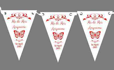 £7.29 • Buy Butterfly  Red Personalised Wedding Anniversary Party Bunting