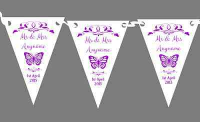 Butterfly  Purple Personalised Wedding Anniversary Party Bunting • 7.29£