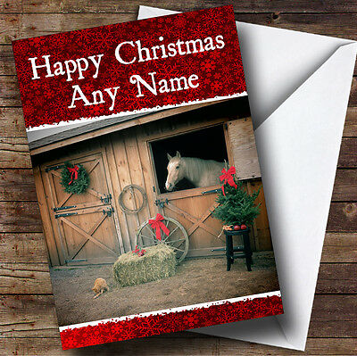 £3.79 • Buy Horse In Stable Christmas Greetings Card Personalised