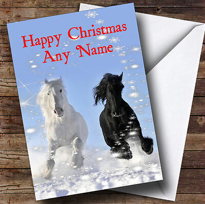 £3.79 • Buy Grey & Black Horse Christmas Personalised Greetings Card