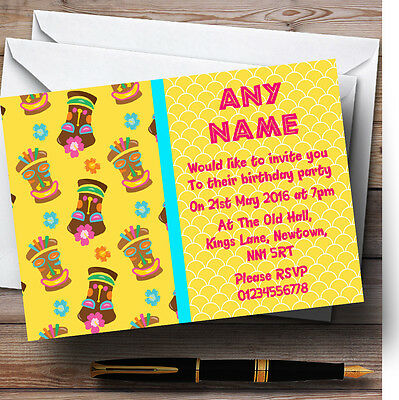 Yellow Tiki Hawaiian Tropical Luau Personalised Birthday Party Invitations • 6.95£