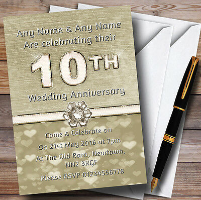 Titanium Gold And White 10Th Personalised Anniversary Party Invitations • 34.95£