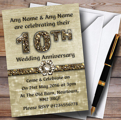 Titanium Gold Sparkly 10Th Personalised Anniversary Party Invitations • 17.95£