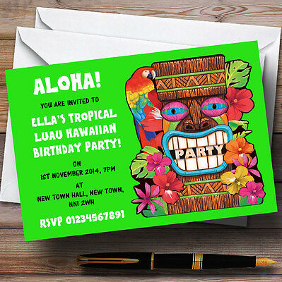 Green Tropical Luau Hawaiian Personalised Party Invitations • 17.95£