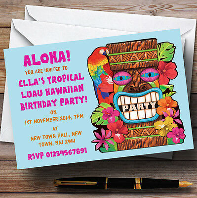 Aqua Tropical Luau Hawaiian Personalised Party Invitations • 6.95£