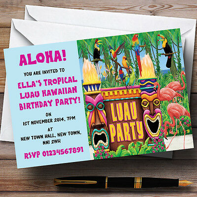Turquoise Hawaiian Tropical Luau Personalised Party Invitations • 12.95£