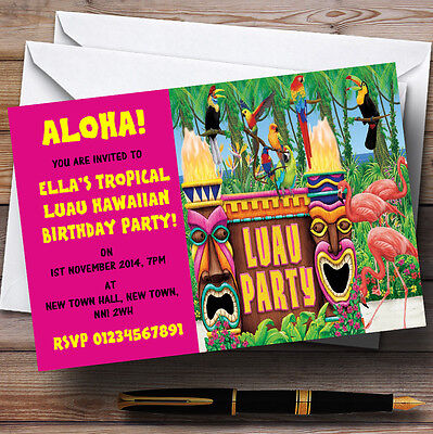 Pink Hawaiian Tropical Luau Personalised Party Invitations • 6.95£