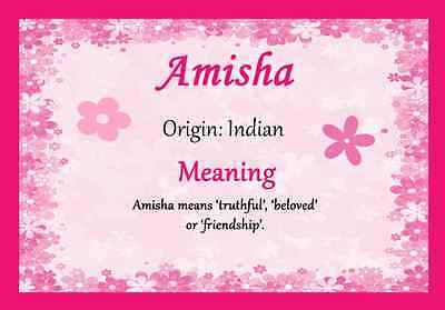 $ CDN11.92 • Buy Amisha Personalised Name Meaning Certificate