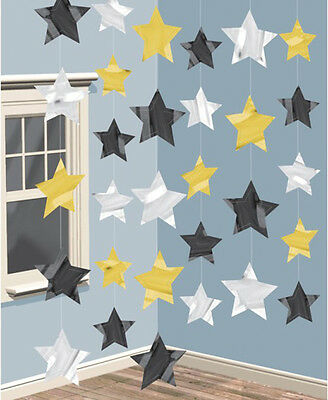 £3.25 • Buy Star Hanging Strings Decoration Gold Black Silver Hollywood Party Prom Oscars
