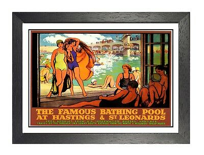 £8.99 • Buy Bathing Pool At Hastings & St Leonards The Famous Railway Vintage Poster Photo