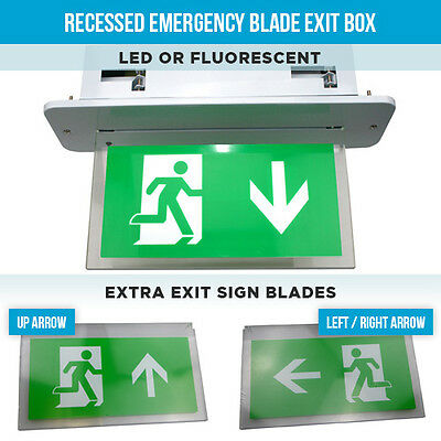 Recessed Emergency Lights Blade Exit Box Led Or Fluorescent Fire Exit Lights • 30.65£