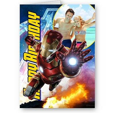 Personalised Photo Added, Avengers, Iron Man A5 Birthday Card With Envelope • 3.49£