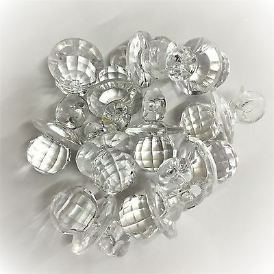 £5.50 • Buy 25 X Clear CRYSTAL Dummy / Pacifier Faceted Acrylic Charms, Baby Shower