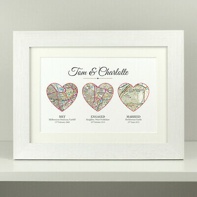 Personalised Wedding Gift / Met Engaged Married OS Maps / Anniversary Present  • 9.49£
