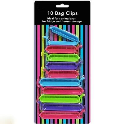 10 Bag Clips Reusable Tie Plastic Storage Sealing Fridge Freezer Food Fresh • 2.75£