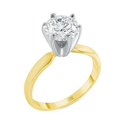 $264.98 • Buy 1 Ct Round Cut Solitaire Engagement Wedding Promise Ring Solid 18K Yellow Gold