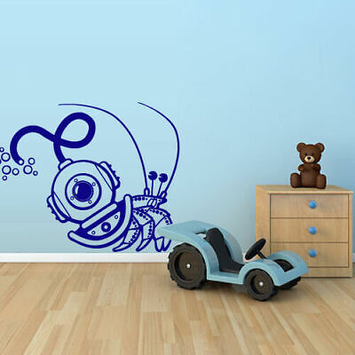 Wall Decal Vinyl Crab Scuda Diving, Kids Nautical Marine Bedroom Decor Art M1516 • 22.42£