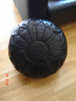 Moroccan Hand Stitched Black Leather Pouffe - Stuffed • 67.99£
