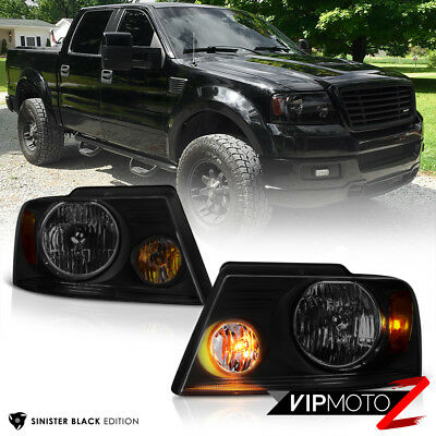 $76.44 • Buy 2004-2008 Ford F150  SINISTER BLACK  Smoke Head Lights Headlamps PAIR Assembly