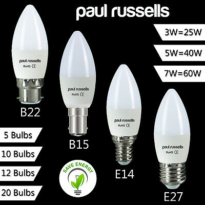 2 5 10 20 Halogen Candle BC SBC ES E27 SES 18W 28W 42W Energy Saving Light Bulbs • 6.99£
