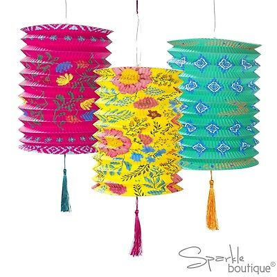 BOHO PAPER LANTERNS X3 - Summer Garden Party/BBQ/Luau/Outdoor Hanging Decoration • 7.49£
