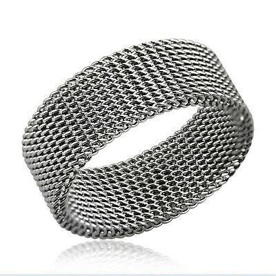 MENS STAINLESS STEEL MESH CHAINMAIL RING 8mm WIDE BAND RING NEW • 4.99£