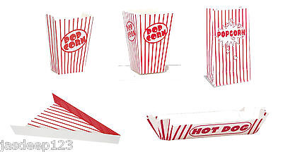 Retro Food Party Containers Red Striped Coloured (Pizza/Hot Dog/Popcorn Boxes)  • 2.45£