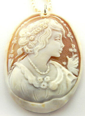$349 • Buy M+m Scognamiglio Hand Carved Cameo Pendant Pearl Necklace