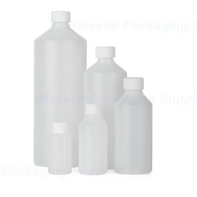 Plastic Bottles Natural HDPE With Screw Top Lid 50ml 100ml 250ml 500ml 1000ml • 7.19£