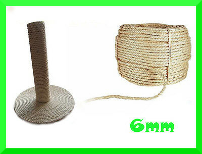 6mm Natural Sisal Rope Twisted Braided,Decking,Garden,Cat Scratching Post,Crafts • 3.28£