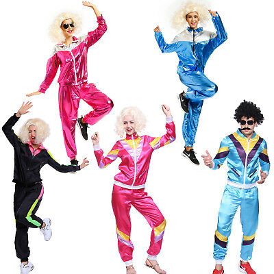 AU28.99 • Buy Mens Womens 80s Height Fashion Scouser Tracksuit Shell Suit Costume Fancy Dress
