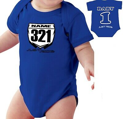 £20.52 • Buy Motocross Baby Number Plate One Piece Shirt Infant Mx Just Ride Yamaha Yz Blue