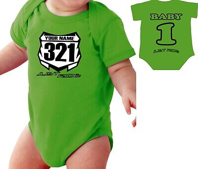 £15.57 • Buy Motocross Baby Number Plate One Piece Shirt Infant Mx Just Ride Kawasaki Kx Lime