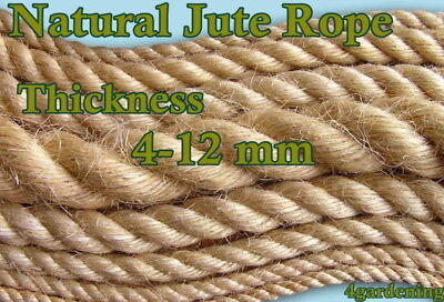 Natural Jute Rope Twine Cord Strand Twisted Braided Decking Garden Boating Sash • 6.15£