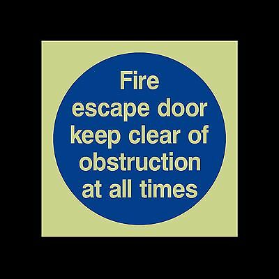 Fire Escape Door Keep Clear Of Obstructions - Photoluminescent Sign / Sticker • 0.99£