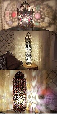 Moroccan Style Floor / Table Lamp Jewelled Cutwork Flower Stunning Brand New • 55£