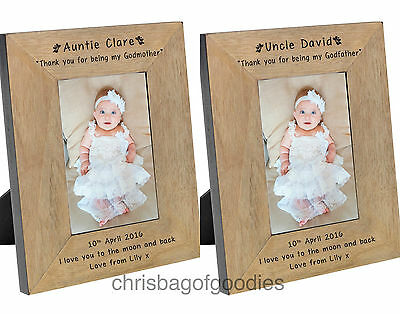 £18.50 • Buy PERSONALISED PHOTO FRAME For GODPARENTS GODMOTHER GODFATHER Christening Gifts