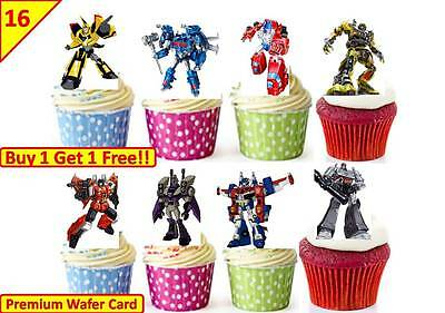 £5.09 • Buy 32 TRANSFORMERS Birthday Cup Cake Fairy Edible Wafer Rice Toppers *STAND UP*