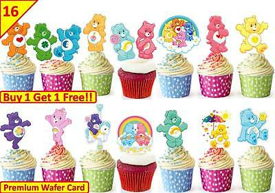 £5.09 • Buy 32 Care Bears Edible Cup Cake Toppers Wafer Birthday Party STAND UP Decorations