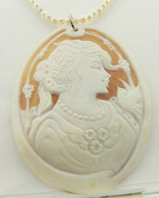 $275 • Buy Sterling Silver M+m Scognamiglio Carved Shell Cameo Pendant With Pearl Necklace