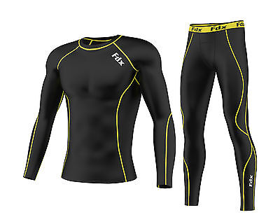 FDX Mens Compression Armour Base Layer Top Skin Fit + Compression Leggings Set  • 24.65£