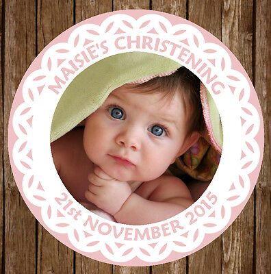 12x PERSONALISED CHRISTENING BAPTISM FIRST COMMUNION 60MM ROUND STICKERS FAVOURS • 2.90£