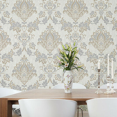 Senator Grey White Taupe Beige Damask Quality Feature Vinyl Wallpaper M1031 • 12.49£