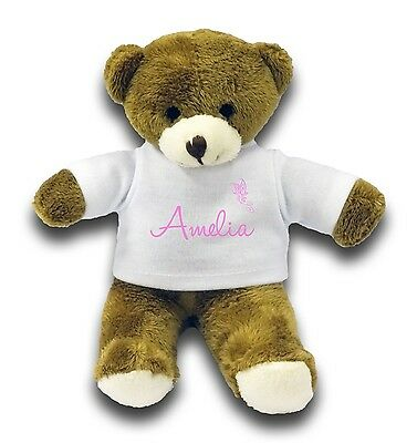 £8.99 • Buy Personalised Any Name With Butterfly Gift 7  Teddy Bear - Pink