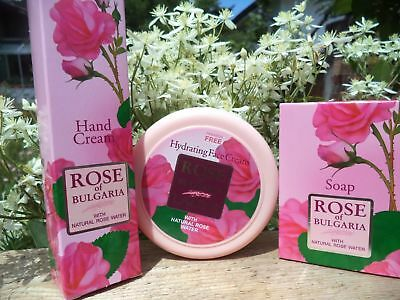 ROSE OF BULGARIA Set: Cream+hand Cream+soap, With Natural Rose Water, Paraben Fr • 6.47£